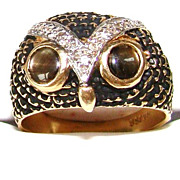 Estate 14K Gold Enamel Diamonds Cat's Eyes Figural Owl Ring