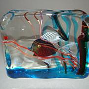 Vintage Murano Venetian Barbini Cenedese Glass Fish Aquarium Block Paperweight