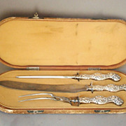 Antique Unger  Bros Repousse Sterling Silver 3 pcs Carving Set in Box