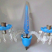 Rare Antique French Blue Opaline Glass Bronze Wall Sconce Baccarat