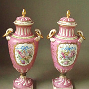 Antique Pair Sevres Pink Hand Painted Encrusted Gold Covered Vases or Urns