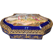 Huge Hand Painted French Sevres Style Box Artist Signed Lauque Ormolu Frame Dating c1890