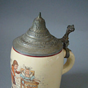 Old German Miniature Child Stein 1/8L Zum Andenken
