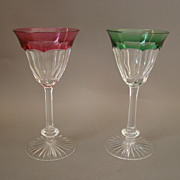 Pair Old Cut glass Goblets Cranberry and Green