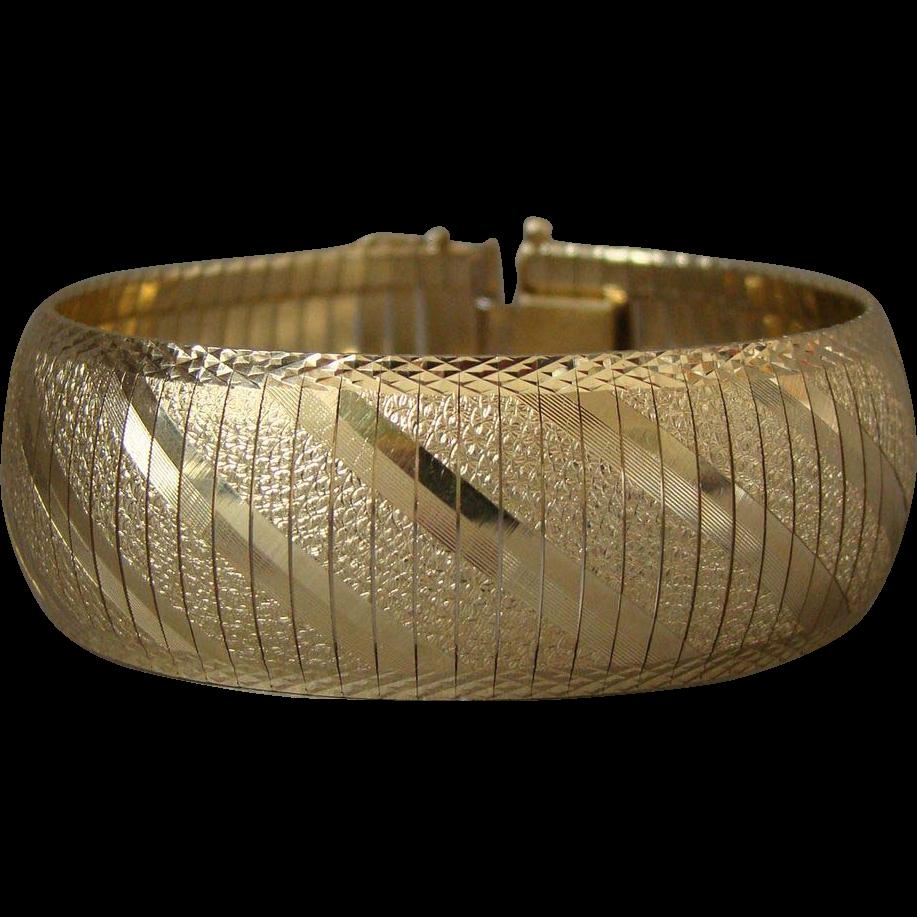 """Estate 14K Gold 7/8"""" Wide Bracelet"""