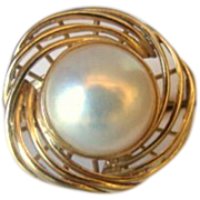 Estate 14K Gold Mabe Pearl Ring
