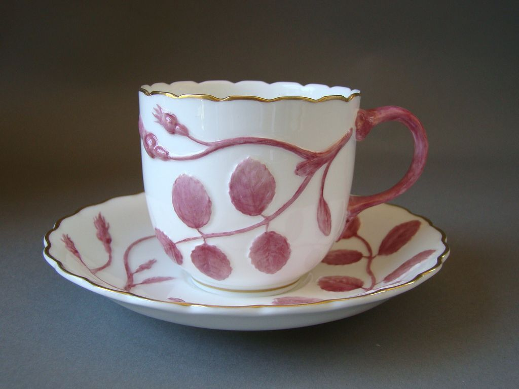 Vintage Royal Worcester Blind Earl Puce Pink  Cup and Saucer