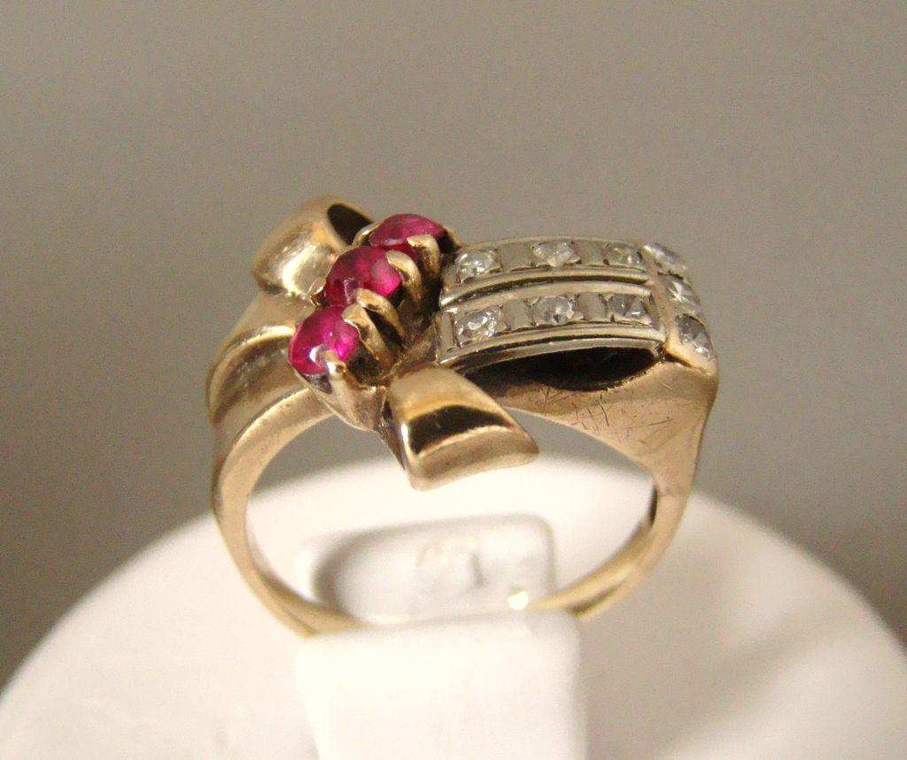 Estate 14k Gold diamond Rubies Ring with Appraisal