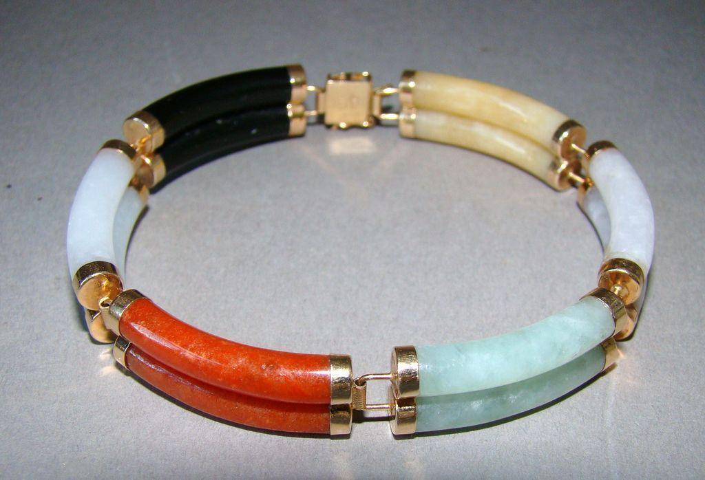 Estate Multicolor Jade Jadite 14K Gold Bracelet