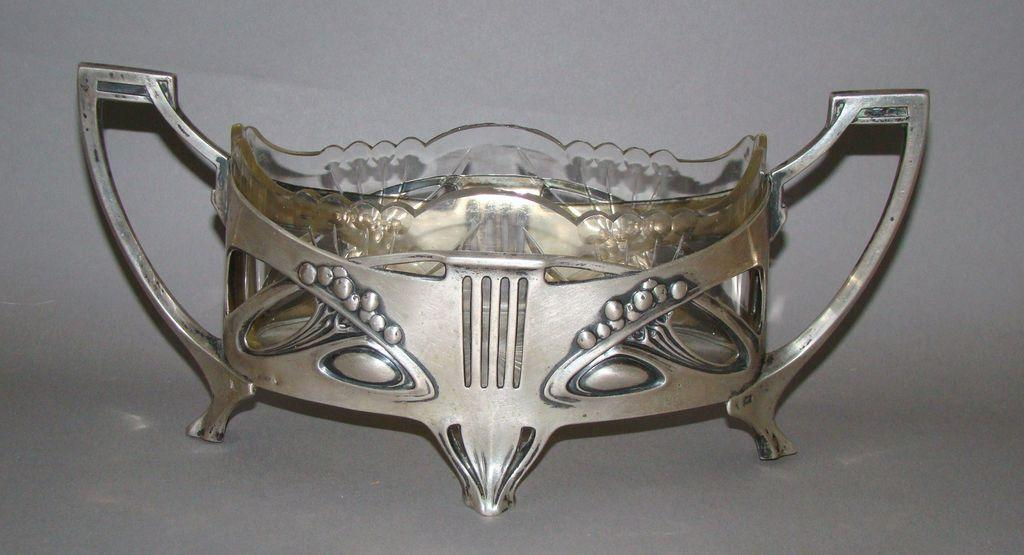 Art Nouveau Junglestil  Silver Cut Glass Centerpiece Bowl
