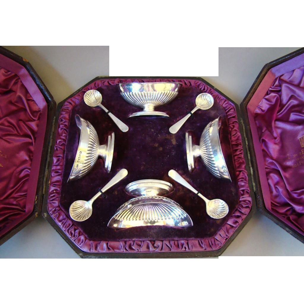 Superb Antique Sterling Silver Four Open Salts & Spoons Set in Original Box 1883