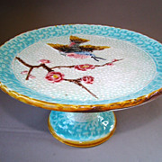 Antique Majolica Bird Compote att. Eureka Pottery Co