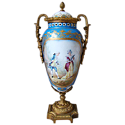 """Signed Raguet Sevres style Covered Vase / Urn 15"""" Tall Hand Painted Gilt Bronze"""