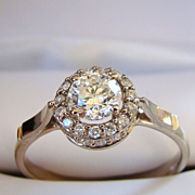 Brilliant Cut Diamond 14KT White Gold Engagement Ring