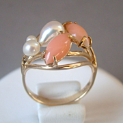 A Vintage Cabochon Coral Fresh Water Pearls 14K Gold Ring