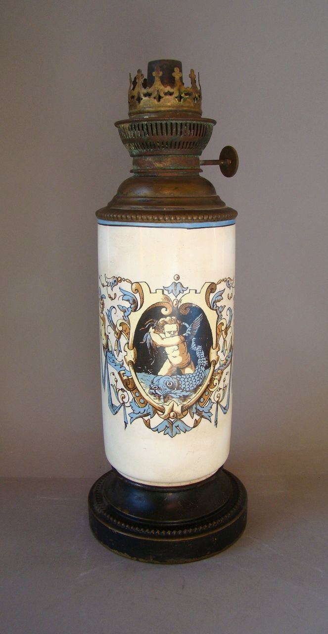 Antique French Gien Faience HP Oil Lamp J R Bec Rond Parisien c 1875