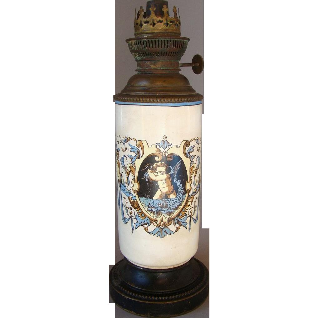 Antique French Gien Faience HP Oil Lamp J R Bec Rond Parisien c 1875