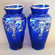 Pair Large Sterling Silver Overlay Cobalt Blue Glass Vases