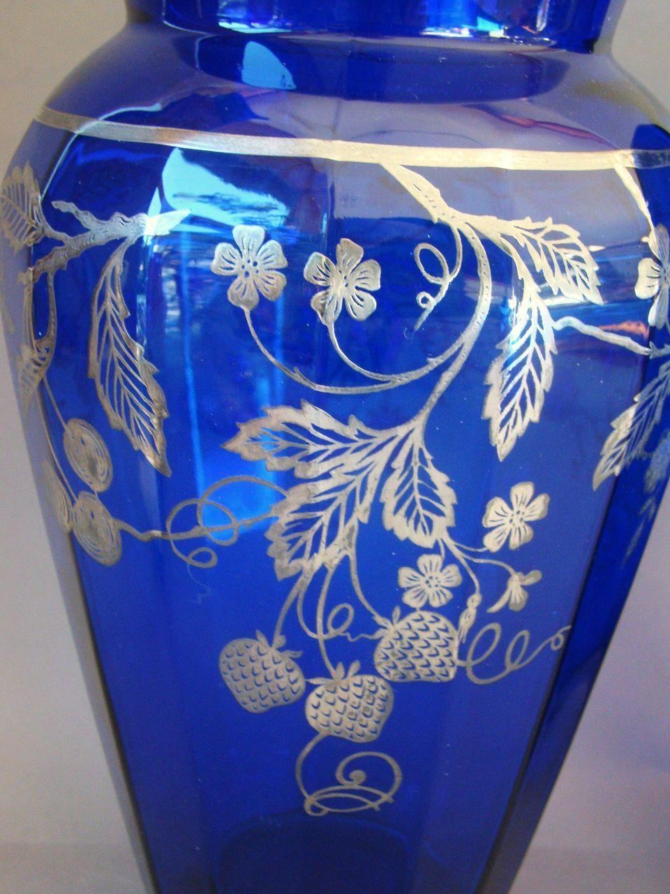 Pair Large Sterling Silver Overlay Cobalt Blue Glass Vases