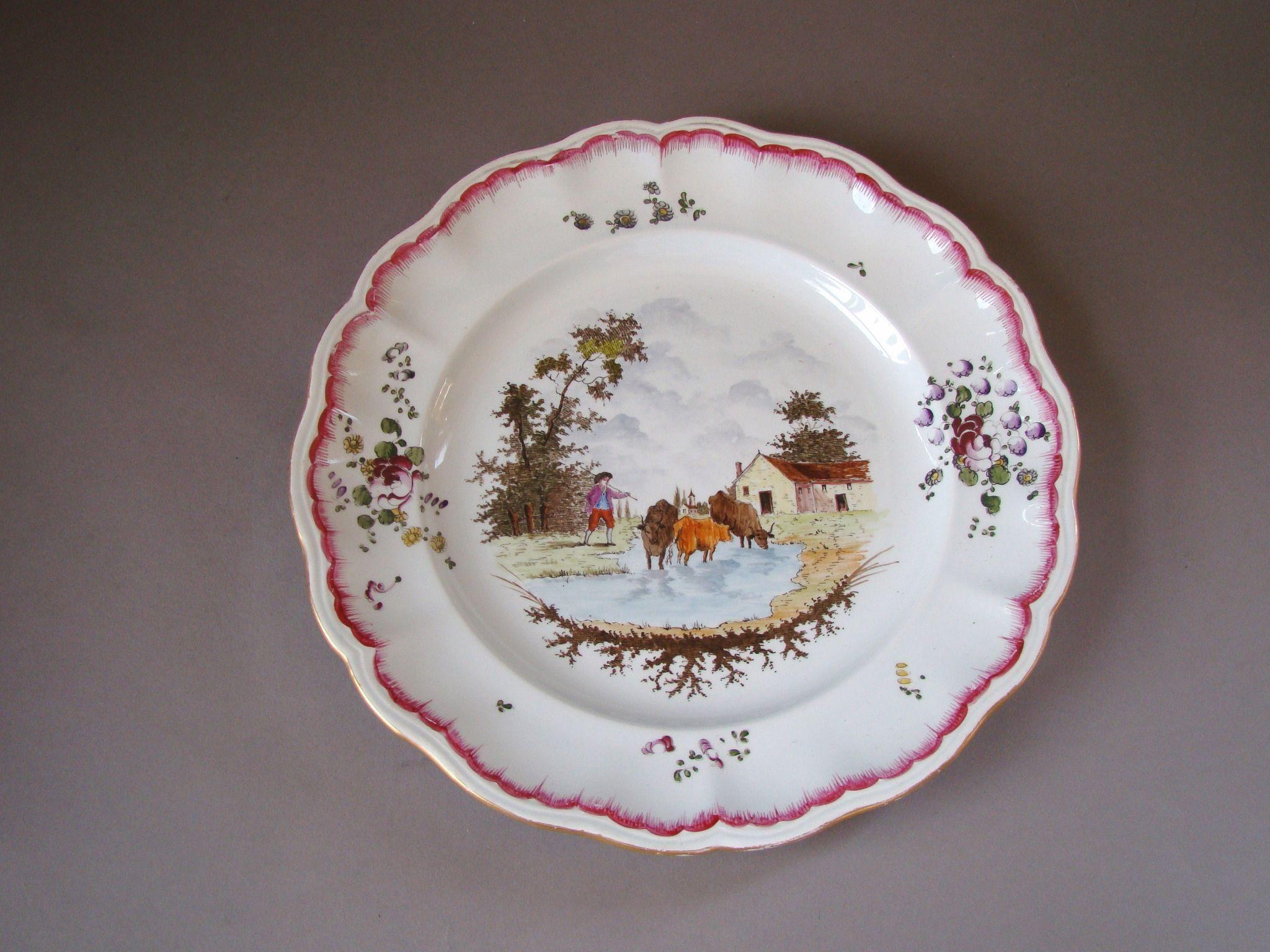Antique French Marseille Faience Hand Painted Plate