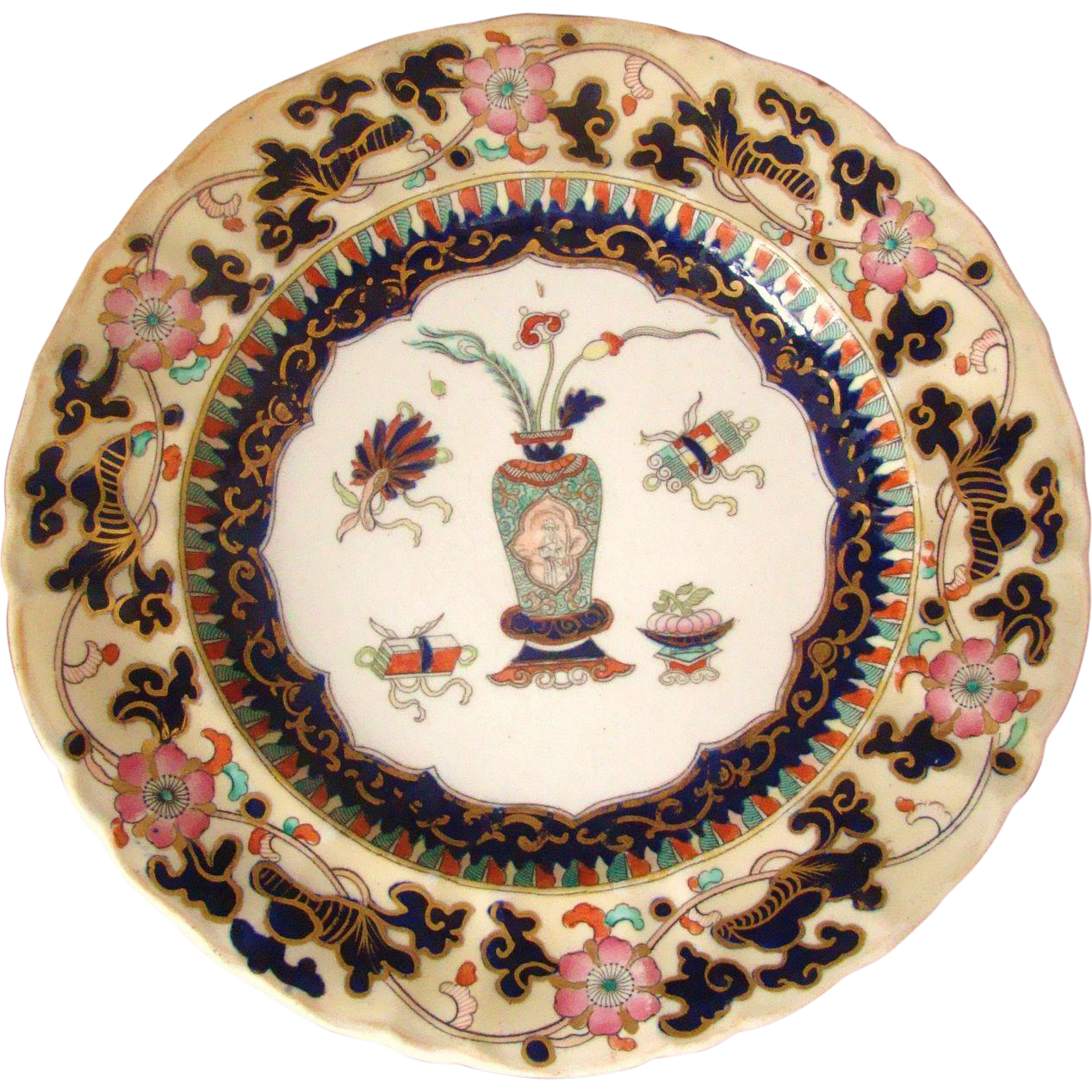 Antique Hand Painted Mason Ironstone Plate Chinoiserie Chinese Vase Pattern 1840