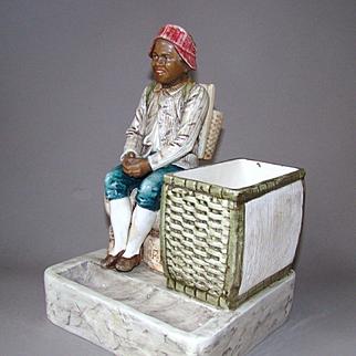 Antique Majolica Figural Cigar Match Holder Striker Black Americana Boy c1900