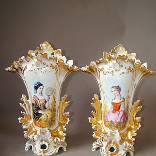 Pair Antique French Old Paris Porcelaine Vases Hand Painted Woman Portraits
