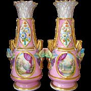 Pair Antique French Old Paris Porcelaine Vases Hand Painted Raised Flowers