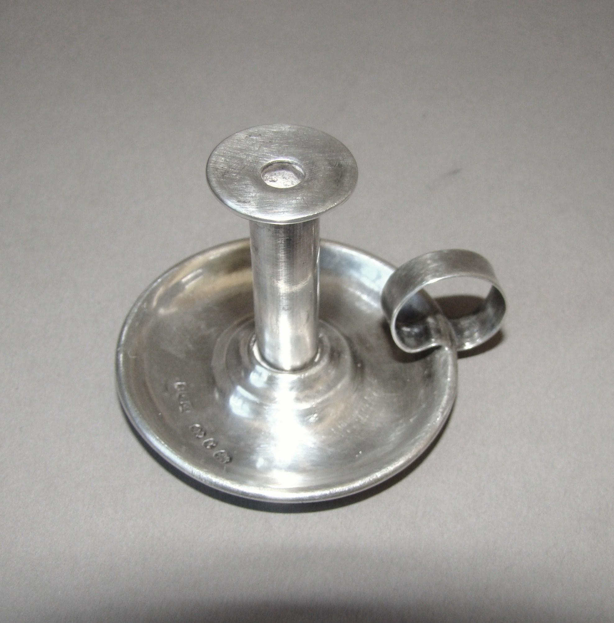 Antique English Sterling Silver Miniature Finger Candlestick Birmingham 1897