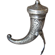 Sterling Silver Theodor Olsens Norway Miniature Viking Horn Pepper / Salt Shaker