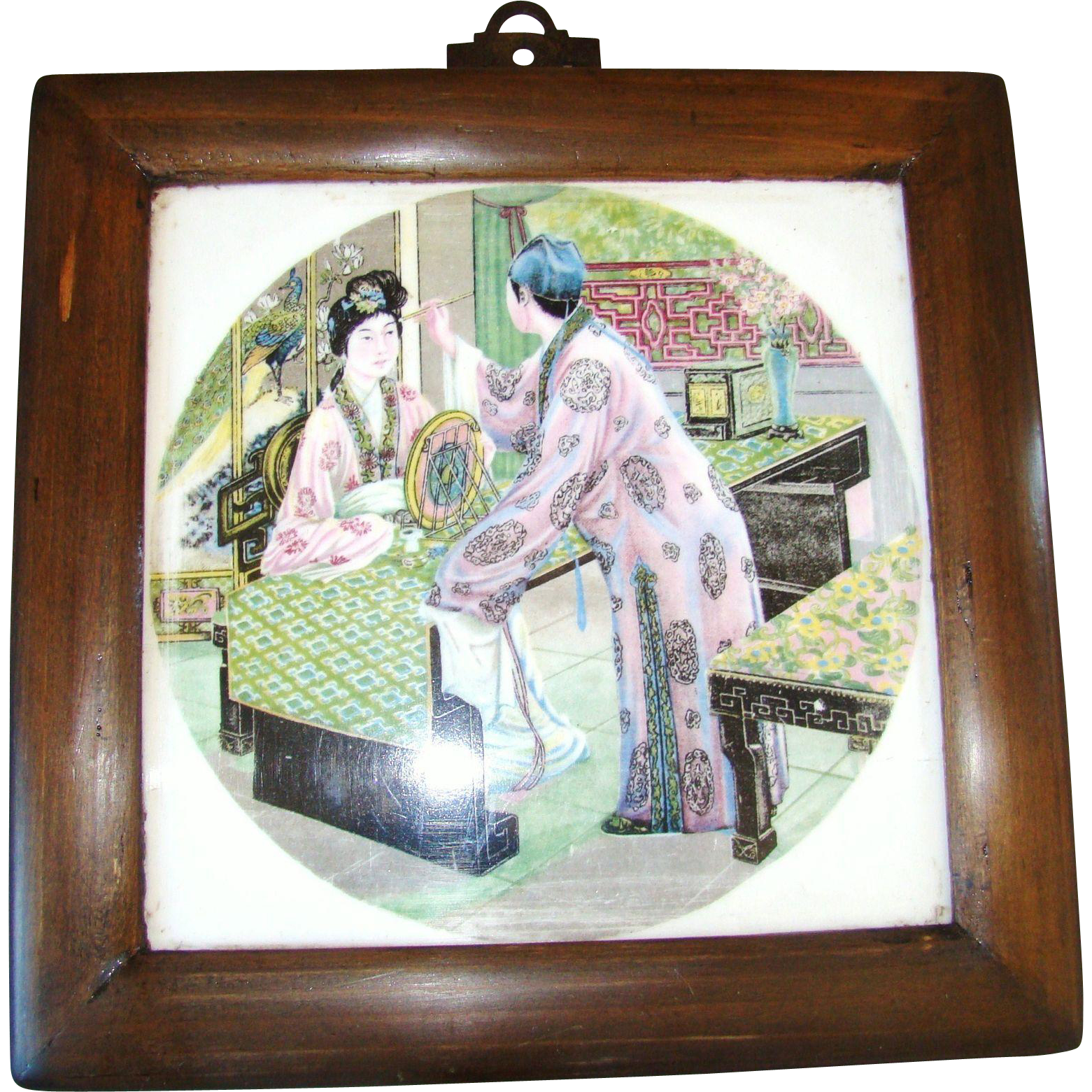 Antique Framed Chinoiserie Ceramic Tile Two Chinese Women Designn 19th century