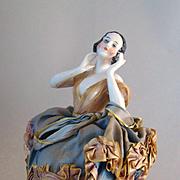 Art Deco Flapper Half Doll Pin Cushion Signed Unger, Schneider & Cie 16019 Rare
