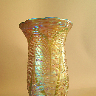 """Large Antique Durand Glass  Shade Pulled Feather with Iridescent Gold Threading 8"""""""