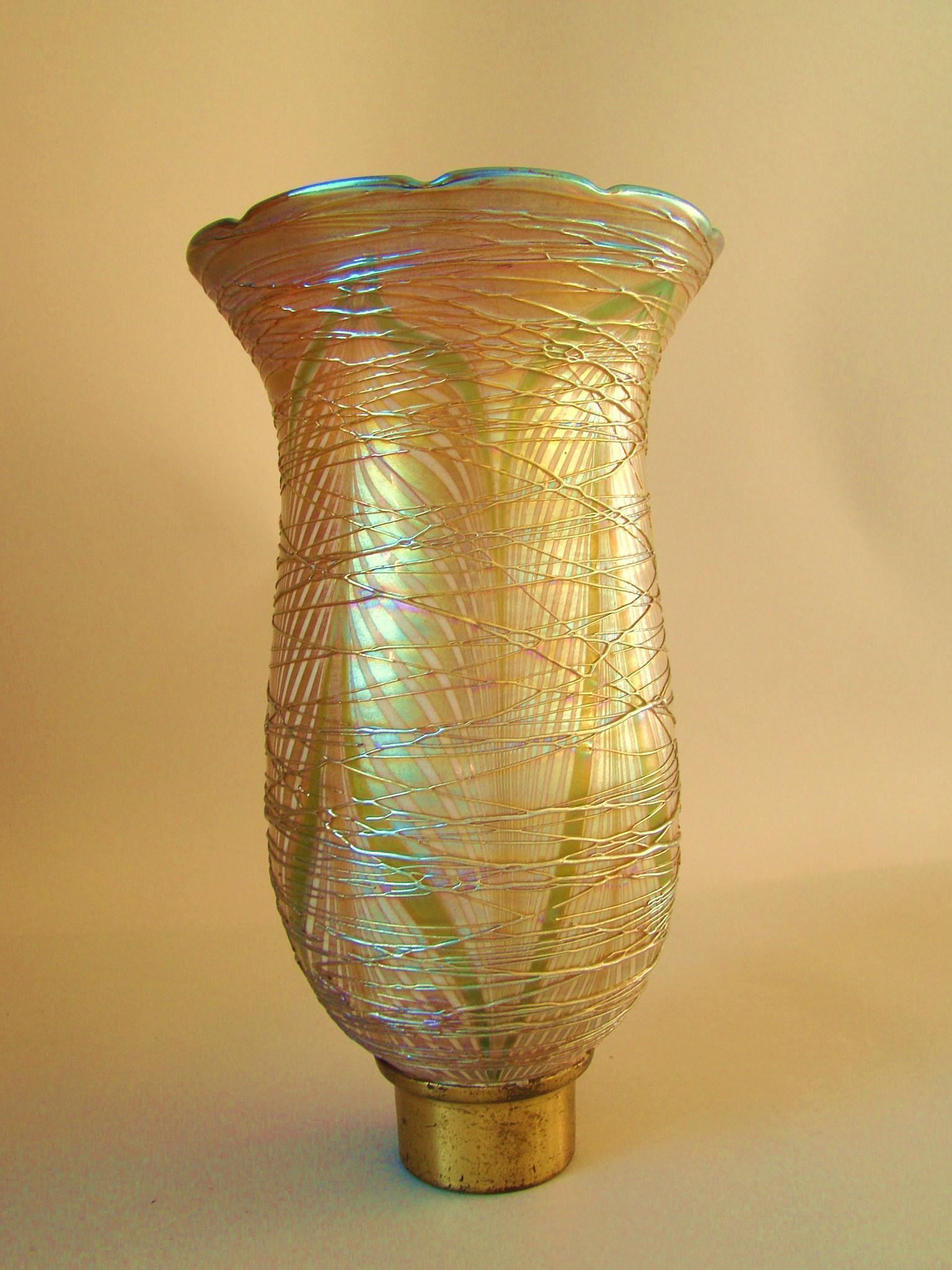 Large Antique Durand Glass  Shade Pulled Feather with Iridescent Gold Threading 8""