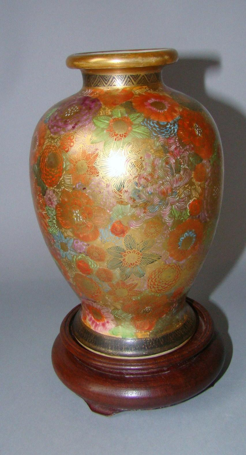 Millefiori Satsuma Vase Meiji Period Japanese Hand Painted Thousand Flowers