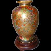 Millefiori Satsuma Vase Meiji Period Japanese Hand Painted Thousand Flowers