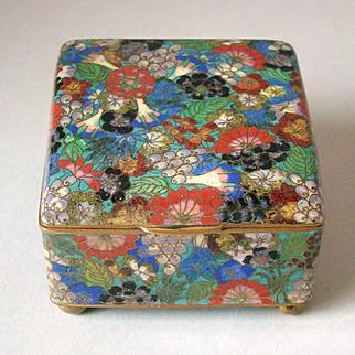 Millefiori Japanese Cloisonne Box Meiji Period Thousand Flowers
