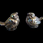Antique French Sterling Silver Figural Baby Birds Salt and Pepper Shakers, Maker Alexandre Vaguer