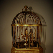 Antique Karl Griesbaum Singing Bird in Cage Automaton Music Box Works Great