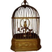 Antique Karl Griesbaum Singing Bird in Cage Automaton Music Box Original Condition Works Great