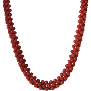 Antique Victorian Era Red Mediterranean Coral Woven Necklace