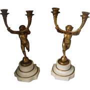 Antique French Empire Style Bronze Figural cherubs Candle Holders Candelabra