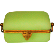 Large Antique French Apple Green Opaline Glass Jewelry Box Palais Royal Grand Tour Souvenir c1870