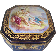 Large Sevres Style Box Antique Ormolu Bronze  Hand Painted Signed Rochette