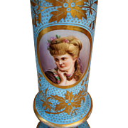 "Antique Bohemian Hand Painted Lady Portrait Glass Vase 14.5"" Tall"