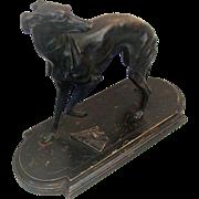 Antique Mene Style Bronze Whippet Dog with Broken Fan