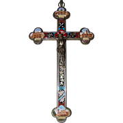 Antique Italian Grand Tour Souvenir Micro Mosaic Crucifix Architectural Large 9.75""