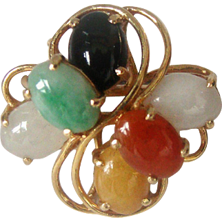 Vintage Multi-Color Jade 14K  Gold Ring