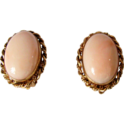 Vintage 14k Gold Angel Skin Coral Earrings