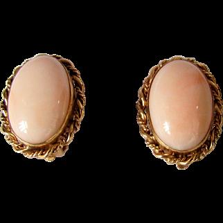 Vintage 14k Gold Angel Skin Coral Earrings